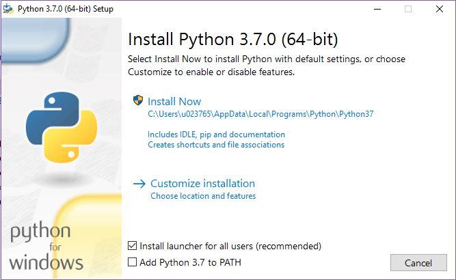 Videata di installazione Python